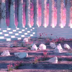 Post all your art inspired by the music genre of Vaporwave. Aesthetic Images, Aesthetic Backgrounds, Pink Aesthetic, Aesthetic Wallpapers, Vaporwave, Colorfull Wallpaper, Fantasy Landscape, Retro Futurism, Fantasy World