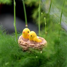 Mini nest with birds fairy garden miniatures gnomes moss terrariums resin crafts figurines for home decoration accessories DIY(China (Mainland))