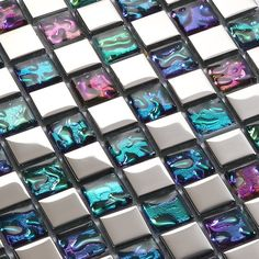 Plated mosaic glass tiles backsplash ideas bathroom wall shower decor iridescent tile patterns for kitchen backsplashes Size: Color: Multicolor; Glass Tile Backsplash, Glass Mosaic Tiles, Backsplash Ideas, Backsplash Design, Mosaic Wall, Iridescent Tile, Mosaic Tile Sheets, Washroom Design, Kitchen Wall Stickers