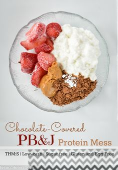 While it may look gross, this Chocolate-Covered PB&J Protein Mess is a great snack! THM:S, low carb, sugar free, high protein, gluten and egg free