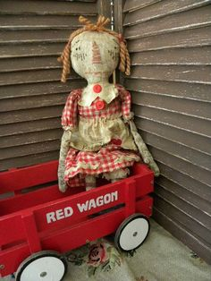 Very Primitive, Primitive, Raggedy Ann, Red, White, Vintage, Antique, Hafair, TeamHaHa, Doll by Mustard Seed Originals by mustardseed on Etsy