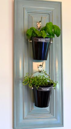 I painted this one duck egg blue, added hooks and mini pails with herbs  great blue for kitchen cabinets!