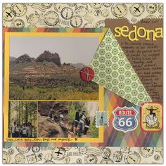 I love this scrapbook page idea. I like the two sided paper folded back so you can see the other side.
