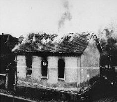 What Happened During the Devasting Night Named Kristallnacht?: The burning of the synagogue in Ober Ramstadt during Kristallnacht.
