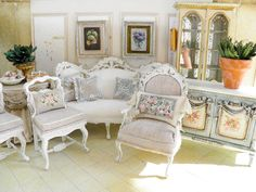 Hand painted silks and miniature furniture by Maritza Miniatures