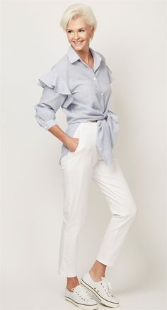 """For+preppy+jet-set+glamour+of+the+moment,+pair+the+Straight+Leg+Ankle+Button+7/8+Pant+with+the+striped+<a+href=""""/Products/Fashion+Collection/Shirts/Frill_Sleeve_Shirt__6998.aspx""""></strong>Frill+Sleeve+Shirt.</a>+<p>Available+in+sizes+P+-+XL+#paularyan"""