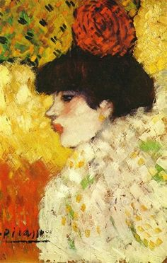 Profile Of A Young Girl (Girl With Red Flower In Her Hair) Pablo Picasso Original Title: Profil d'une jeune femme (Fille avec fleur rouge) Date: 1901 Style: Post-Impressionism Period: Early Years Genre: portrait Media: oil, canvas