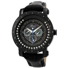 "JBW Men's JB-6211L-E ""Hendrix"" Black Ion Multi-Function Leather Diamond Watch"