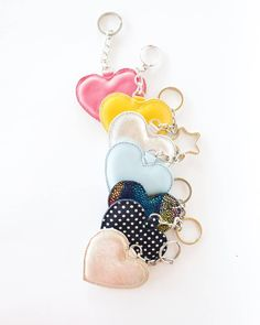 Colorful heart keychain or bag charms from leather Leather Bookmark, Leather Keychain, Leather Bag, Flat Lay Inspiration, All You Need Is Love, Leather Accessories, New Trends, Favorite Color, Bucket Bag