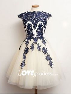 2015 Tulle Short Prom Dress With Navy Blue Lace Appliques - Prom Dresses - Lovegoddess