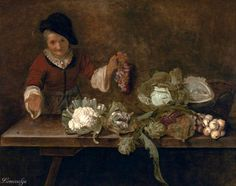 Cornelis Lelienbergh The Fruit and Vegetable Vendor oil on canvas, 19 11/16 in. x 27 9/16 in. (50 cm x 70 cm), Crocker Art Museum