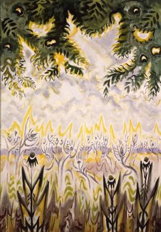 Charles Burchfield (US 1893-1967), Zimmerman Road, watercolor on paper, 1956. Image from the Burchfield Penney Archives. Follow the link to a lovely, poetic journal entry Burchfield made regarding his visit to this location.