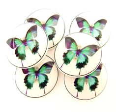 "Purple Sewing Buttons | ... , Purple and Black Butterfly Buttons. 3/4"" or 20 mm Sewing Buttons"
