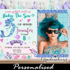 Under the sea mermaid birthday invitations with picture in shades of pink, purple and turquoise. These mermaid birthday invitations feature your girl's phot Mermaid Party Invitations, Picture Invitations, Birthday Party Invitations, Birthday Wishes, 4th Birthday, Invites, Birthday Ideas, Personalized Invitations, Printable Invitations