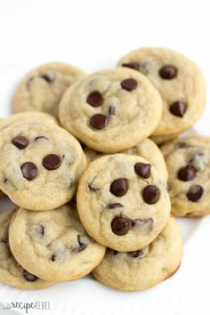 Mom's Chocolate Chip Cookies: Soft, chewy chocolate chip cookies that are never fluffy or cakey. My mom's recipe that she's been making ever since I was a little girl! You know they've got to be good :) www.thereciperebel.com: