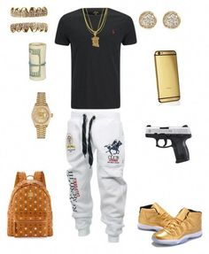 A fashion look from January 2016 featuring MCM backpacks, Rolex watches and Jamie Wolf earrings. Browse and shop related looks. Teen Boy Fashion, Tomboy Fashion, Look Fashion, Urban Fashion, Daily Fashion, Mens Fashion, Fashion Design, Dope Outfits For Guys, Swag Outfits Men