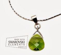 Pendiente y colgante briolette en olivina de swarovski elements | Cristal y rodio