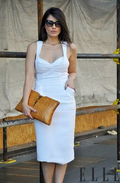 don't love this dress, but I always appreciate a dress w/ pockets and the bag is hot! #accessories #baglovin #fashion