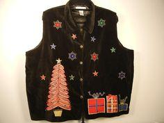 Ugly Christmas Vest Black Velvet Dressbarn Woman  Size 22-24   $24.97     1782 #Dressbarn
