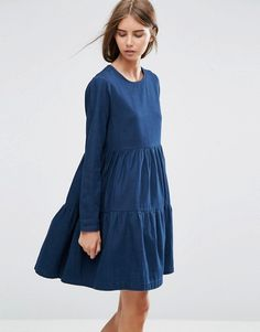 ASOS | ASOS Denim Tiered Smock Dress in Dark Blue
