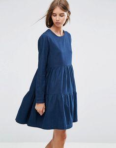 ASOS | ASOS Denim Tiered Smock Dress in Dark Blue