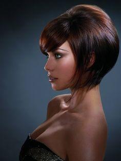Voluminous bob hairstyle with beautiful fringe