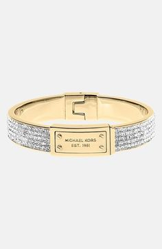 Michael Kors Logo Plaque Pavé Hinged Bangle available at #Nordstrom