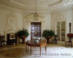 A view of the octagonal Inner Hall which features fine plasterwork - Badminton House