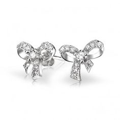 Pave CZ 925 Sterling Silver Petite Bow Ribbon Stud Earrings