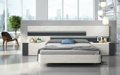 Dormitorio Jara, combinado en sauce y gris, con leds y aluminio