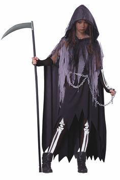 Miss Reaper Dress, Cape with Hood, Printed Glovelettes and Tights, Waist Chain