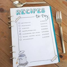 """319 Likes, 9 Comments - SERA (@seras.bullet.journal) on Instagram: """"I made this page to collect and remember (!) new recipes I want to try . . #recipes…"""" #fitnessjournal,"""