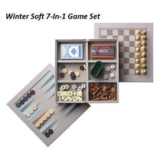 Bump your game night to the next level with the 7-in-1 set that includes chess, checkers, backgammon, cribbage, dominoes, playing cards and dice.   Part of the Winter Soft Collection  FEATURES  • Wooden case with checkered top • Top removes to show 6 compartments inside • Different games are stored within the compartments • Packs up easily to take on the go