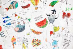 Ежедневник семейства сусликов: Акварельные открытки.