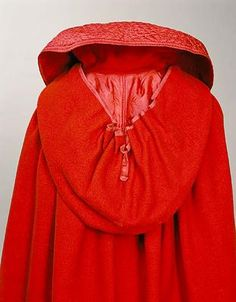 Back view of scarlet Regency wedding cloak