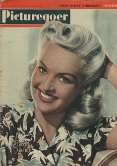 Betty Grable, magazine cover for Picturegoer, a black  white photo hand-painted in colour. (Dec 1944)