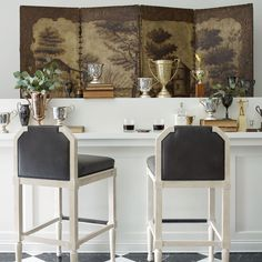 """""""Verified Lofty, smoothed, bronze legs compliment the tailored seating of the Vere Barstool. For more information, visit the link in our bio. Counter Stools, Bar Stools, Kick Plate, Decoration, Home Kitchens, Design Inspiration, Dining, Living Room, Interior Design"""
