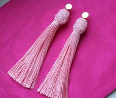 Your place to buy and sell all things handmade Pink Tassel Earrings, Tassel Jewelry, Fringe Earrings, Beaded Earrings, Tassel Necklace, Jewelry Gifts, Handmade Jewelry, Bold Rings, Agate Ring