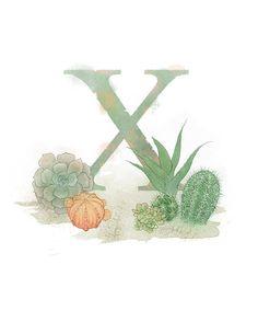 Letter X- Xerophyte, Nature Alphabet Art x Print Initial Nursery Home Decor Alphabet Art, Alphabet And Numbers, Alphabet Soup, Cactus, Nature Letters, Divination Cards, Decoupage, Celtic Art, Lettering Design