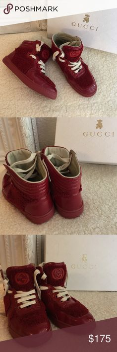 Gucci boys red furry high top sneakers Elmo sz 29 Size 29, pre-loved Authentic red Gucci high top sneakers, please see photos for details Gucci Shoes Sneakers