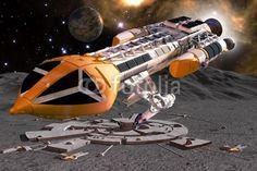 science fiction: Space 1999: Hawk spaceship, moon and moonbase © innovari #29819223