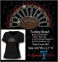 Turkey Bowl Rhinestone Design MST