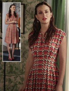 Blair's orange/pink rose print dress and pink suede heels on Gossip Girl.  Outfit Details: http://wornontv.net/7241/ #GossipGirl
