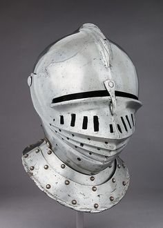 Armet Date: ca. 1510 Culture: Italian Medium: Steel, leather, brass Dimensions: H. 12 1/4 in. (31.1 cm); W. 8 1/2 in. (21.6 cm); D. 12 in. (30.5 cm); Wt. 4 lb. 6 oz. (2900 g)