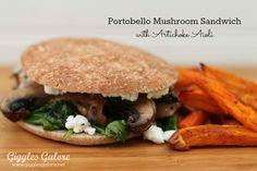My daughter's sandwich choice for her first day of Kindergarten...Portobello Mushroom Spinach Sandwich   #SheLikesTheFinerThingsInLife