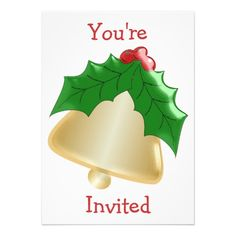 Gold bell #Christmas party #invitation
