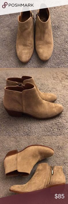 """Sam Edelman """"Petty"""" Chelsea Bootie Tan • Suede • Chelsea Bootie style • side zip closure •  1 3/4"""" heel • minor stain on left boot inner part (See pic #5) • otherwise perfect condition • worn less than 10 times • offers welcomed through offer button ONLY • no low balls Sam Edelman Shoes Ankle Boots & Booties"""
