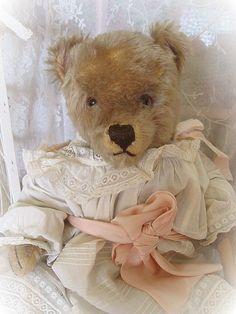 Vintage 1950s Steiff Teddy Bear Dressed in Victorian Lace Dress