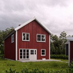 This house is a simple red house which is pretty nice to live in. nice red house cool green forest in the background. beautiful and calm environment. gravel path with wooden terrace. Gravel Path, Wooden Terrace, Swedish Style, Green Lawn, White Doors, Wooden House, Environment, Calm, Houses