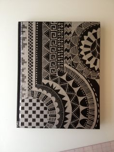 Sketchbook with Original Sharpie Design Cover Notebook Cover Design, Sharpie Doodles, Sharpie Art, Sharpies, Sharpie Designs, Doodle Designs, Sketchbook Cover, Sketchbook Ideas, Aztec Art